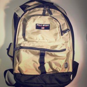 Polo sport vintage 90's beige backpack